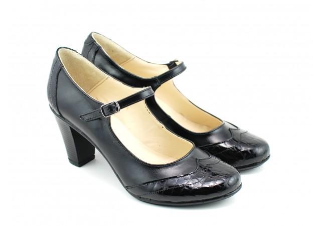 Pantofi dama eleganti din piele naturala, cu toc de 7cm - Made in Romania P13423NCROCO