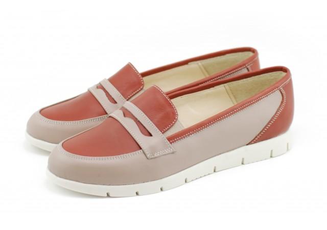 Pantofi dama casual din piele naturala, cu platforme - Made in Romania ROVI23CREM