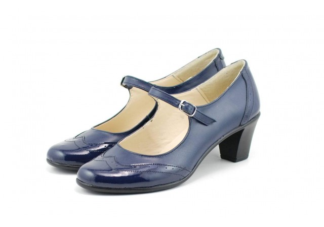 Pantofi dama decupati, eleganti, din piele naturala, cu toc mic - ROVI30ELY