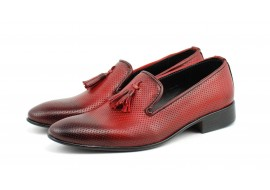 Pantofi barbati eleganti, rosii din piele naturala - 036RED