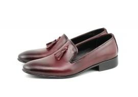 Pantofi barbati eleganti, din piele naturala bordo - 035VIS