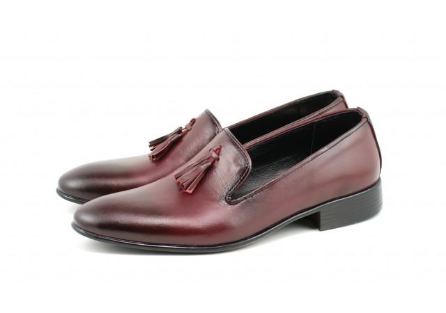 Lichidare marimea 43 Pantofi barbati eleganti, din piele naturala bordo - L035VIS