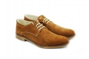 Pantofi maro barbati casual - eleganti din piele naturala intoarsa 855CAMEL