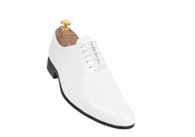 Oferta marimea  40, 41 -  Pantofi barbati, albi,, eleganti, din piele naturala box - LENZOCLASSALB