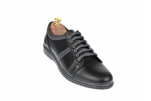 Pantofi barbati sport, casual din piele naturala neagra - TENMARIONEGRU