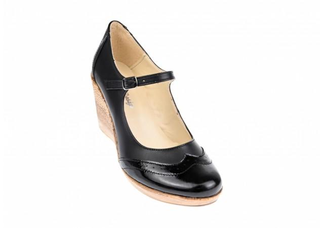 Pantofi dama casual din piele naturala  neagra - P104B