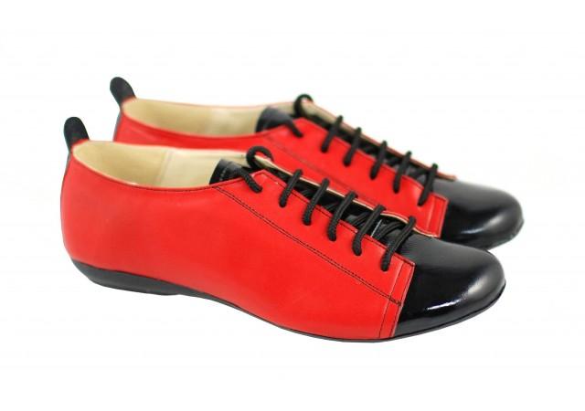 Pantofi dama casual din piele naturala, cu siret, FOARTE COMOZI - P09LACR