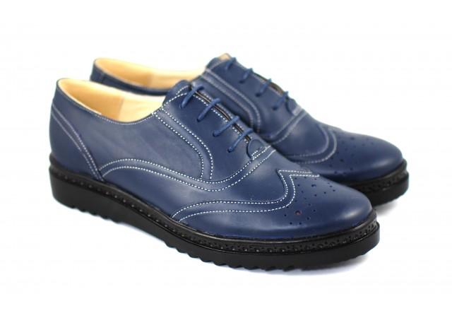 Pantofi dama casual din piele naturala bleumarin - P29OBLMBOX