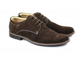 Pantofi barbati casual - eleganti din piele naturala intoarsa maro - PAVELMARO