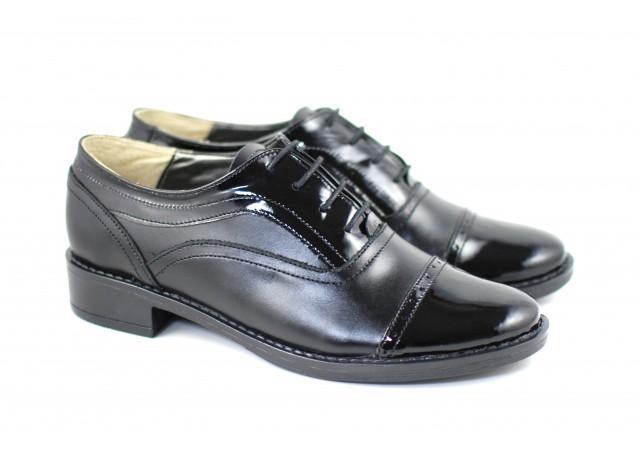 Pantofi dama casual din piele naturala de culoare neagra - PNBOXLAC
