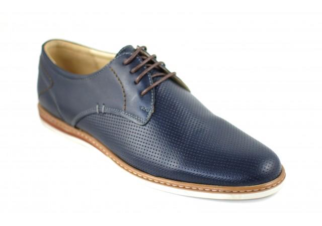 Pantofi barbati casual din piele naturala bleumarin - 213BL