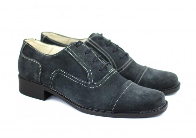Pantofi gri barbati eleganti din piele naturala P32G