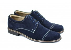 Pantofi barbati eleganti din piele naturala bleumarin - P34BL