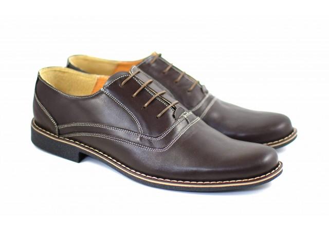 Oferta marimea 43, pantofi barbati eleganti din piele naturala, culoare maro - LP37M