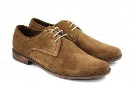 Oferta marimea 38 - Pantofi barbati, casual - eleganti din piele naturala intoarsa, maro deschis - LPAMD