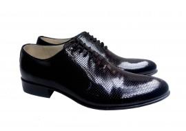 Pantofi barbati lux - eleganti din piele naturala - Negru perforat STD35NLPERF