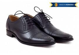 Pantofi barbati casual-eleganti din piele naturala cu siret- Negru 359N