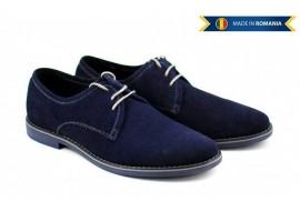 Pantofi barbati casual - eleganti din piele naturala intoarsa bleumarin - PABLUVEL
