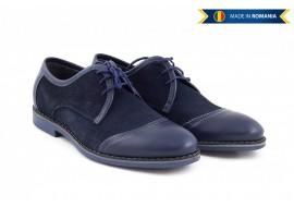 Pantofi barbati casual - eleganti din piele naturala intoarsa bleumarin - 339BLUE
