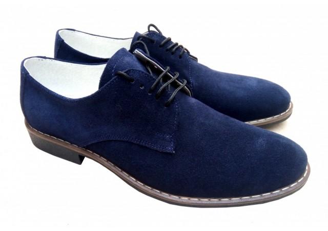 Pantofi barbati casual - eleganti din piele naturala intoarsa bleumarin CRISTIANO 21