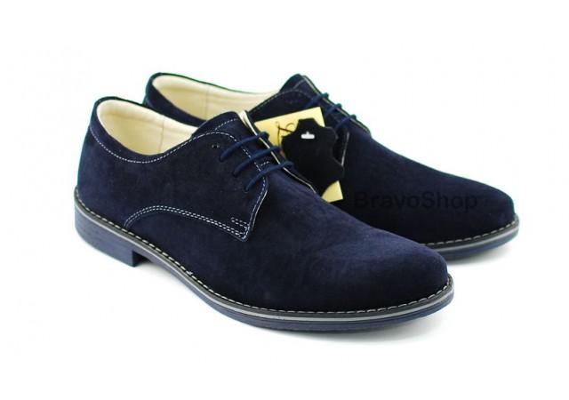 Pantofi barbati bleumarin casual din piele naturala intoarsa 855BLM