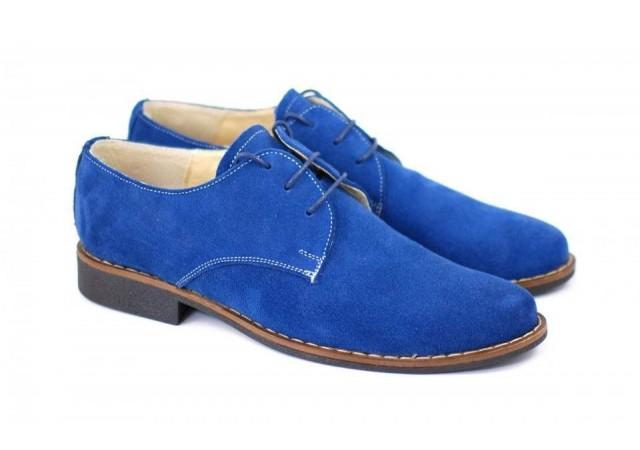 Pantofi barbati casual, eleganti din piele naturala intoarsa - 855CASBLU