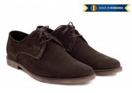 Pantofi barbati casual - eleganti din piele naturala intoarsa maro - PAMVEL