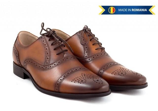 Pantofi barbati casual-eleganti din piele naturala maro cu siret 359CON