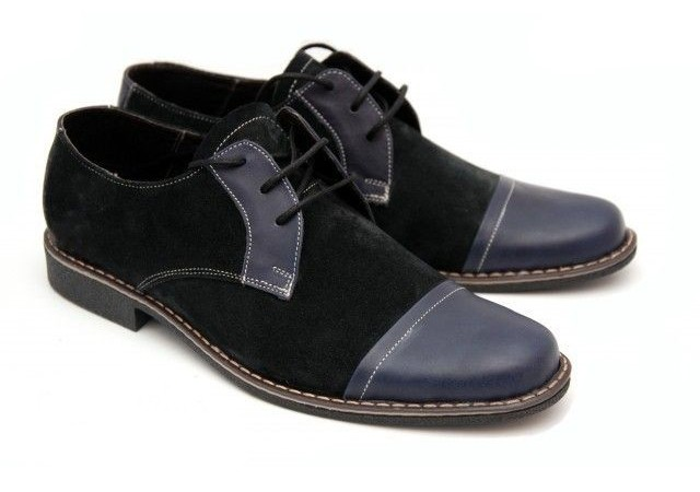Pantofii barbati casual, eleganti din piele naturala bleumarin P34BB