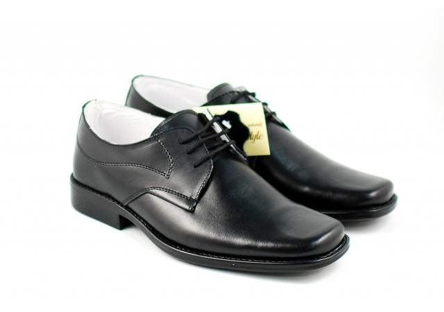 Pantofi barbati eleganti din piele naturala, cu siret L1002NS