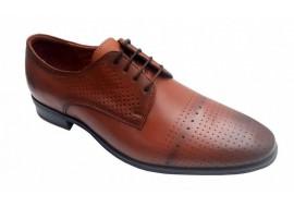 Pantofi barbati eleganti din piele naturala maro box, cu siret LUCASM2