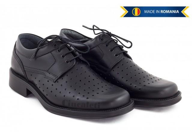Pantofi barbati eleganti din piele naturala, cu perforatii POLITIE - 319N