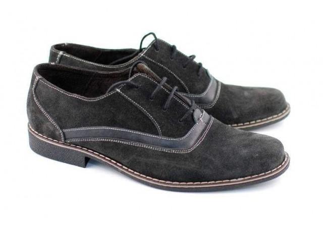 Pantofi barbati gri inchis din piele intoarsa model casual-eleganti P34GRIVEL