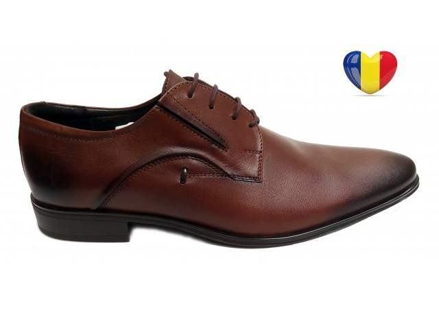Pantofi barbati lux - eleganti din piele naturala maro - cod 169MBOX