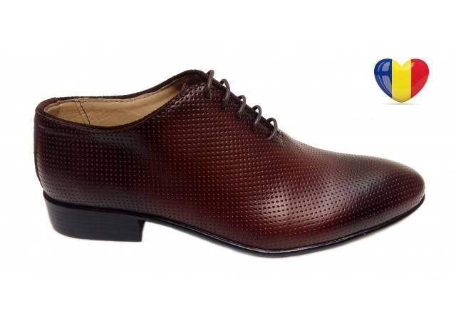 Pantofi barbati lux - eleganti din piele naturala maro - cod 026M