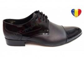 Pantofi barbati lux - eleganti din piele naturala negri - cod 016NVFLAC