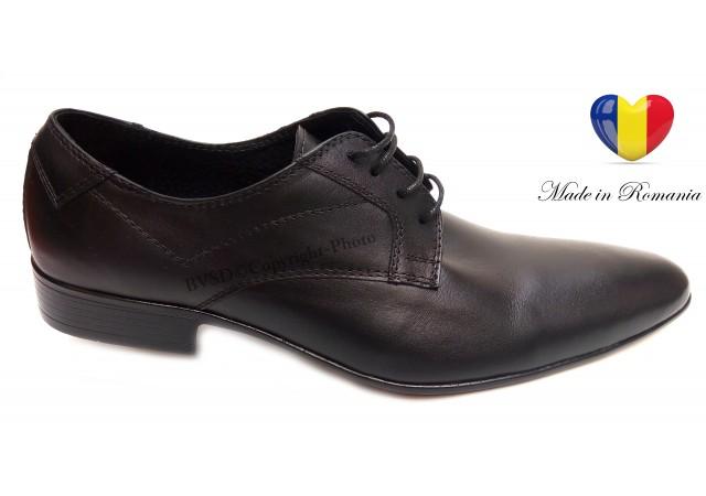 Pantofi barbati lux - eleganti din piele naturala negri - cod 93NBOX