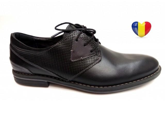Pantofi barbati lux - eleganti din piele naturala negri - cod NEVARN