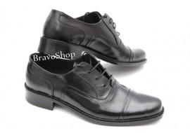 Oferta marimea 41 - Pantofi barbati eleganti din piele naturala de culoare neagra,  LP37NS