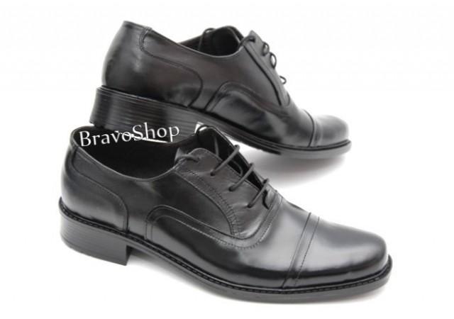 Pantofi barbati eleganti din piele naturala de culoare neagra, P37NS