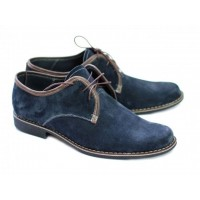Oferta marimea 44 - Pantofi barbati, din piele naturala (Intoarsa) casual-eleganti,  bleumarin -  LP80
