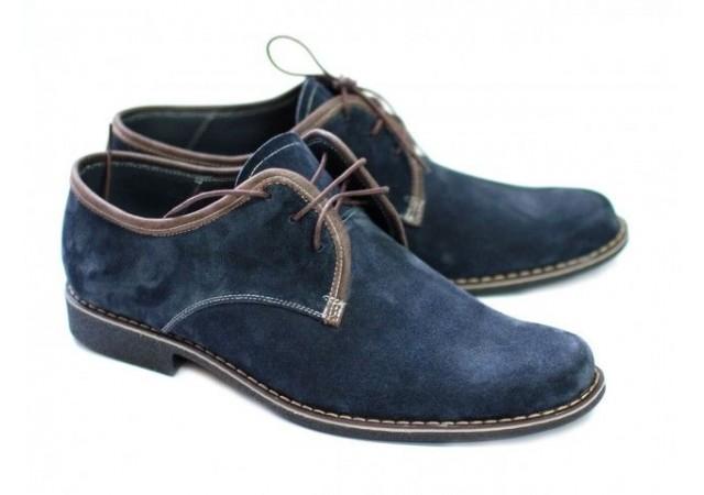 Pantofi barbati piele naturala (Intoarsa) casual-eleganti Bleumarin P80