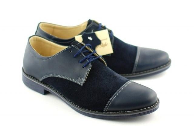 Pantofi bleumarin barbati casual - eleganti din piele naturala 858B