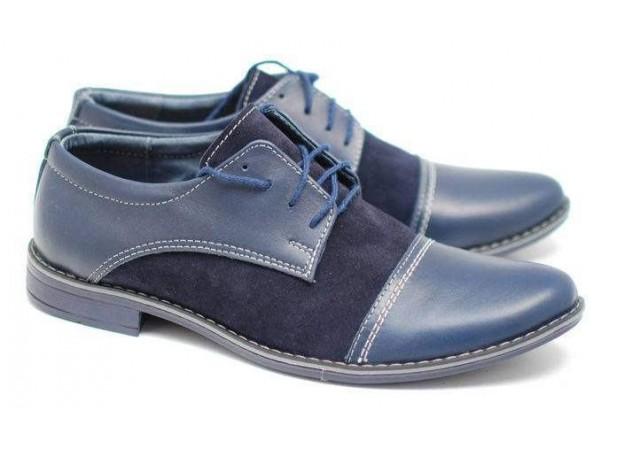 Pantofi eleganti din piele naturala BOX si VELUR cod EZELSALBASTRU