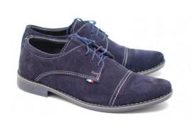 Pantofi eleganti din piele naturala intoarsa bleumarin EZELVELURSALBASTRU