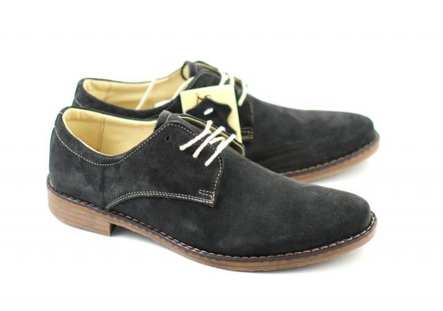 Pantofi barbati gri, casual - eleganti din piele naturala intoarsa - 855VELGRI