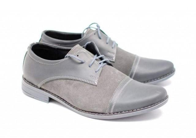 Pantofi gri casual - eleganti barbatesti din piele naturala cu siret EZELBOXVELGRISIRET