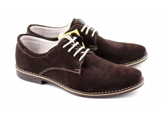 Pantofi maro barbati casual - eleganti din piele naturala intoarsa 857MDV