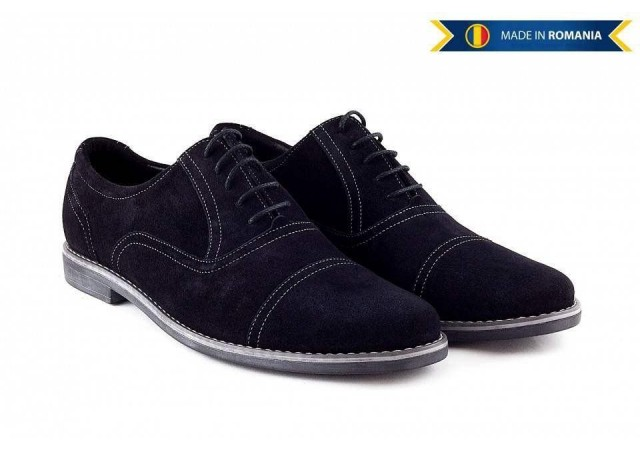 Pantofi negri barbati casual - eleganti din piele naturala intoarsa - 334N
