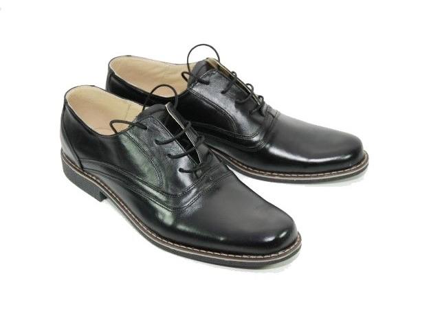 Pantofi negri barbati casual, eleganti din piele naturala LUX76N